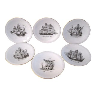 Vintage Rorstrand Sverige Clipper Ship Plates - Set of 6