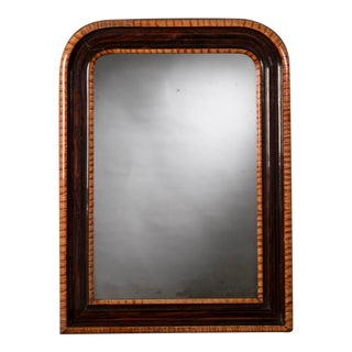 Antique French Louis Philippe Faux Tortoise and Rosewood Mirror circa 1880 (20 1/2″w x 27 1/2″h)