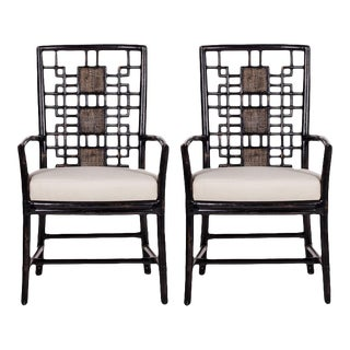 David Francis Rattan Dining Chairs - A Pair