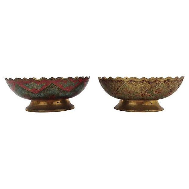 Indian Brass Polychrome Bowls - A Pair - Image 2 of 7