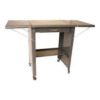 Vintage Cole Steel Industrial Gray Rolling Typewriter Table