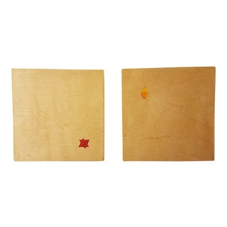 Geometric Abstracts on Wood Panels - A Pair