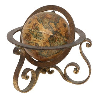 Italian Mini Old World Globe with Brass stand