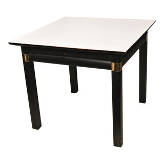 Vintage Hollywood Regency Black & White Wood Side Table