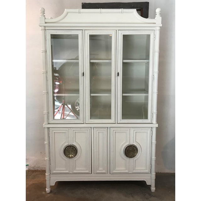 Chinoiserie Faux Bamboo Painted China Cabinet - Image 2 of 10