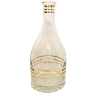 Vintage Barware Glass Decanter with Gold Details