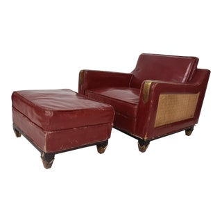 Mexican Modernist Club Chair and Ottoman, Arturo Pani Attributed