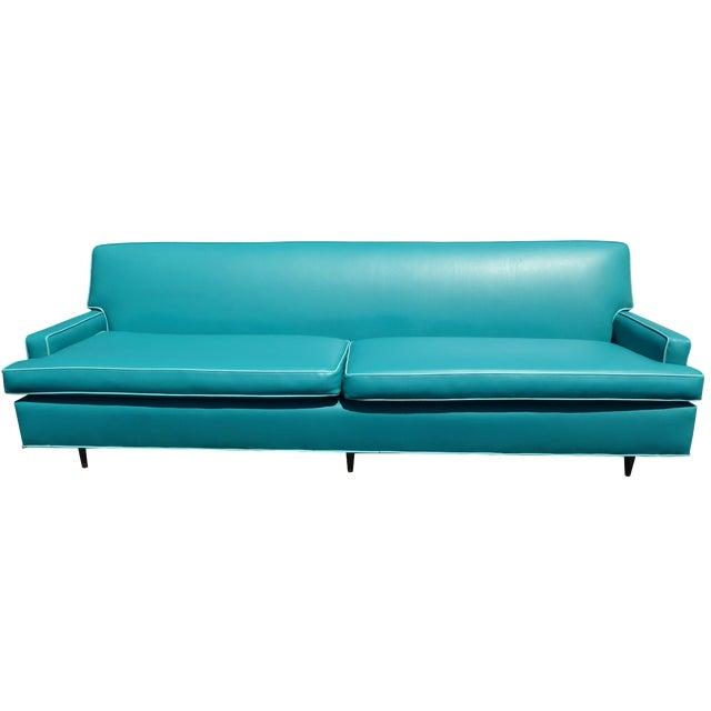 Mid century turquoise vinyl sofa chairish - Turquoise sofa ...