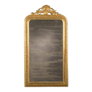 Louis Philippe Gold Leaf Mirror with Cartouche, France c.1885 (33″w x 61″h)