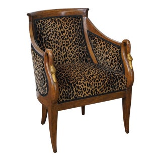 Italian Leopard Print Curved Swan Neck Bergere Arm Chair