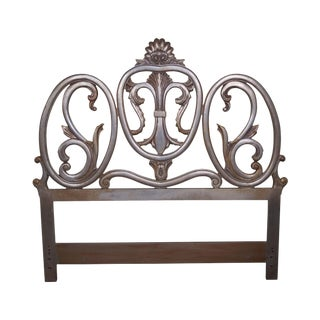 1950s Vintage French Rococo Style Silver Gilt Queen Size Headboard