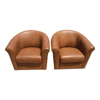 Leather Italia Swivel Chairs - A Pair