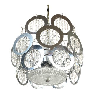 Italian Sciolari Chrome & Crystal Circle Pendant Chandelier