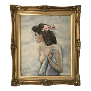 Vintage Portrait of Nude Woman Oil Painting