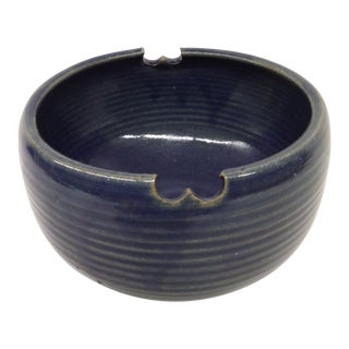 Vintage Japan Hand Thrown Clay Navy Blue Bowl