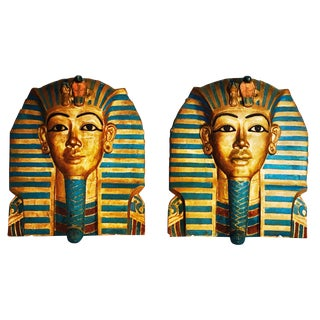 King Tut Plaques on Lucite Stands - A Pair