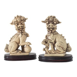 Carved Resin Foo Dogs - A Pair