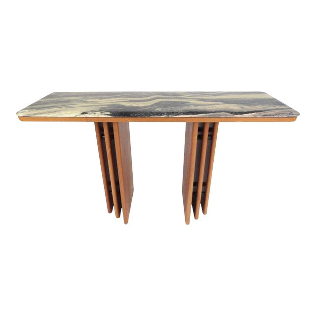 Mid-Century Teak and Marble Console Table by Bendixen Design - Image 1 of 11