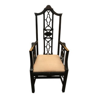 Oversized Fretwork Chinese Chippendale Pagoda Arm Chair