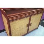 Image of Tiki Style Bamboo & Rattan Rolling Bar Cart