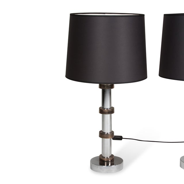 Vintage 1960s Faux Bamboo Chrome Lamps - A Pair - Image 3 of 8