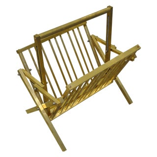 Vintage 1970s Brass Magazine Rack