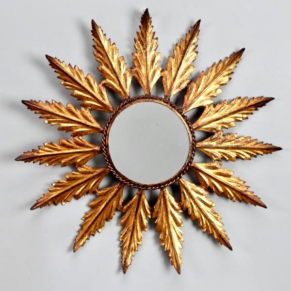 Mid-Century Italian Gilt Metal Sunburst Wall Mirror - Image 2 of 7