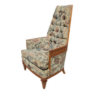 Tufted High Back Armchair With Beautiful Wood Detail