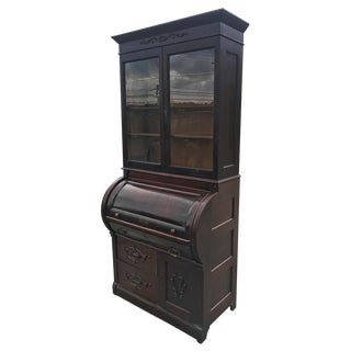 Antique Victorian Walnut Cylinder Roll Secretary Desk w/ Bookcase