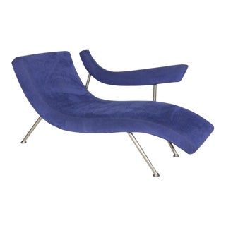 Thayer Coggin Post Modern Blue Suede Chaise