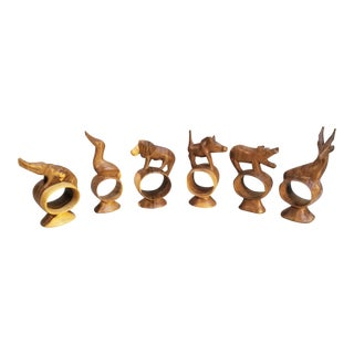 Holiday Sale!! Vintage African Hand Carved Wooden Animal Napkin Rings- Set of 6