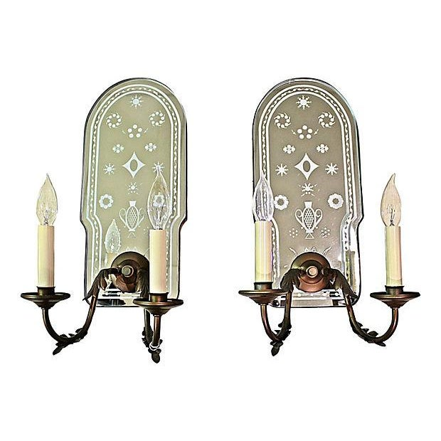 Bronze Metal Mirror-Backed Sconces - A Pair - Image 6 of 6
