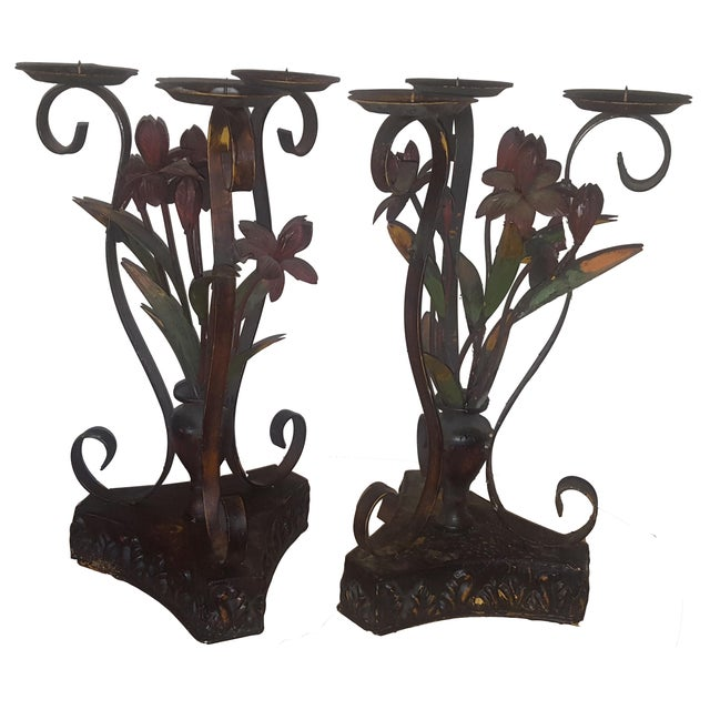 Image of Large Metal Candle Holders - A Pair