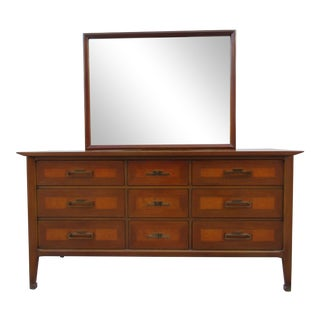 White Furniture Company Nine Drawer Dresser with Mirror