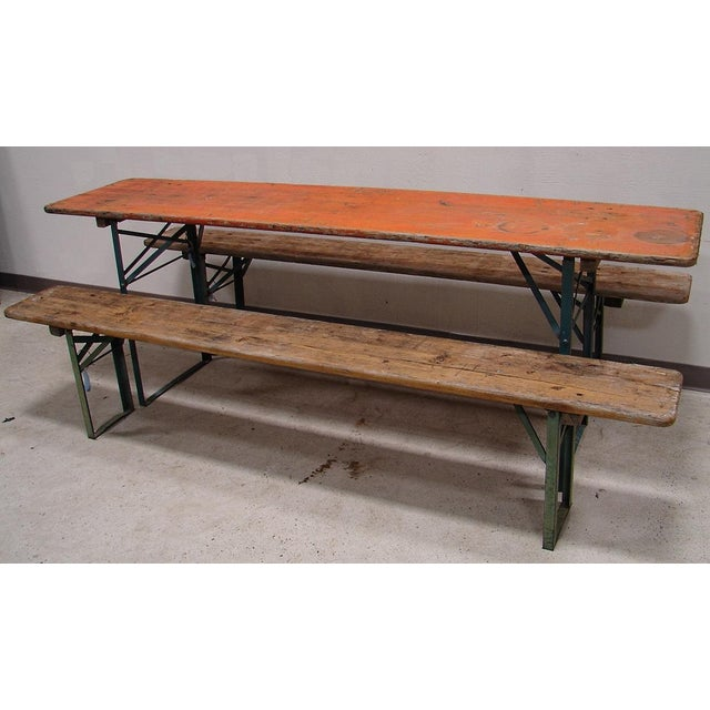 Image of Primitive Picnic Table and Benches Dining Set
