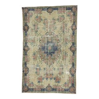 Vintage Turkish Distressed Floral Designed Rug - 6′4″ × 10′1″