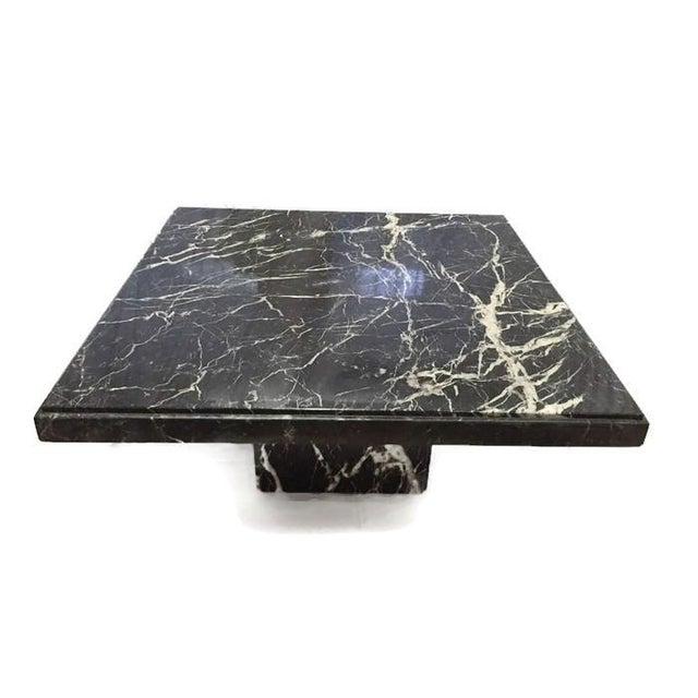Black Marble Coffee Table Set: Vintage Black Marble Pedestal Coffee Table