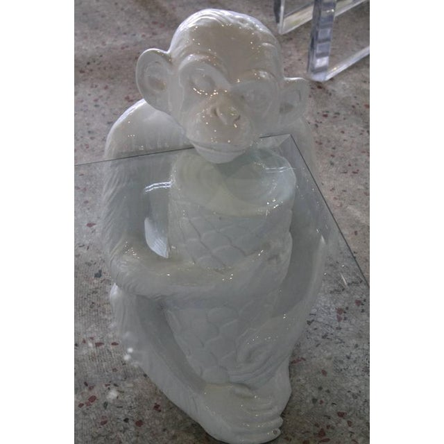Vintage Italian Chinoiserie Ceramic Monkey Coffee Table - Image 4 of 11