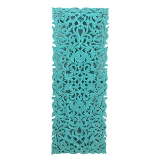 Turquoise Floral Carved Panel