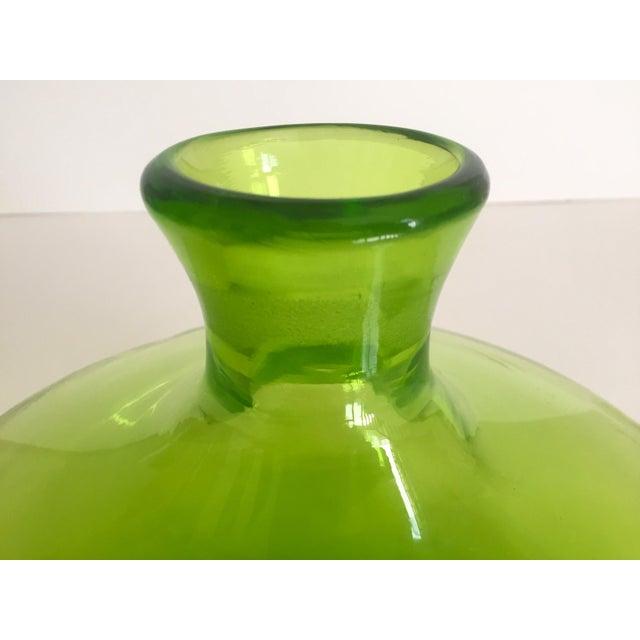 Vintage Blenko Mid-Century Chartreuse Handmade Glass Vase - Image 9 of 11