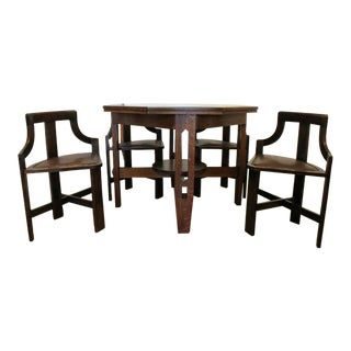 Rare Arts & Crafts Game Table and Chairs