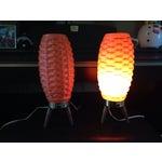 Image of Mid-Century Modern Orange Beehive Lamps - A Pair