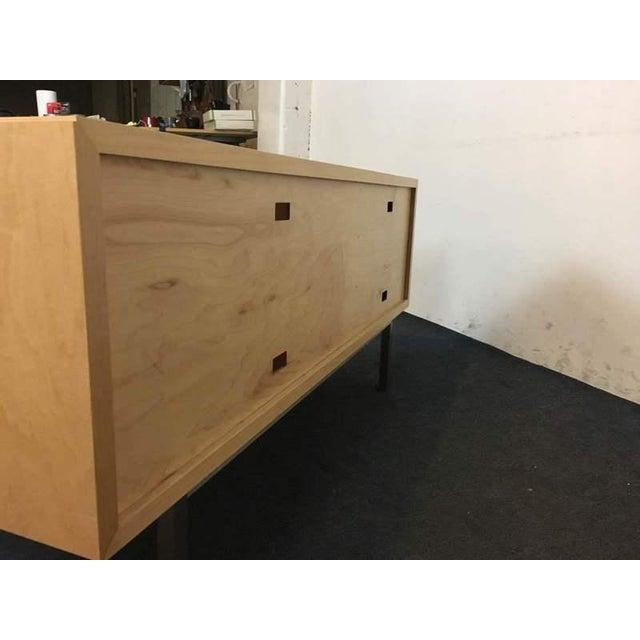 Image of Room & Board Contemporary Laminate Oak & Metal Media Cabinet
