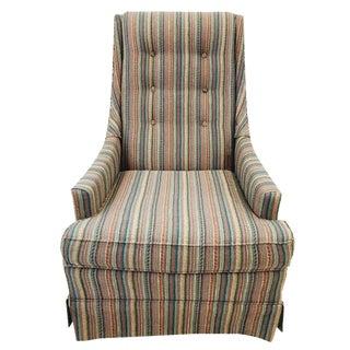 Retro Mid-Century Striped Club Chair