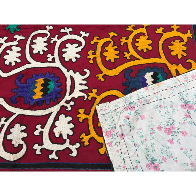 Vintage Square Suzani Fabric - Handmade Table Cover - 4.0' x 4.2' - Image 6 of 6
