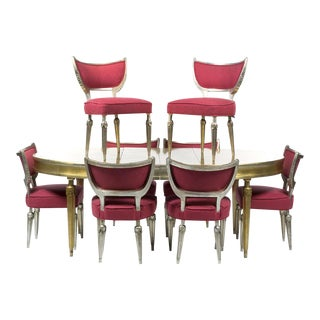 Mid-Century Silver Leaf Dining set, Expandable Table & 8 Chairs, Circa 1950
