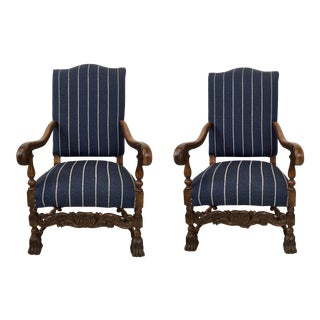 Pair of Antique English Oak Arm Chairs