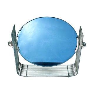 Art Deco Blue Glass & Chrome Vanity Mirror