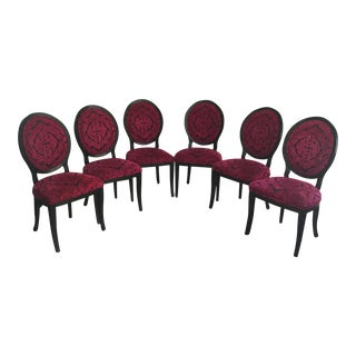 Fuchsia Brocade Oval Back Dining Chairs- Set of 6