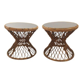 Rattan Mirrored Top End Tables - A Pair